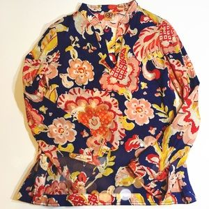 Tory Burch Floral Sequin Tunic Top