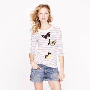 J. Crew Striped Monarch Butterfly Sweater