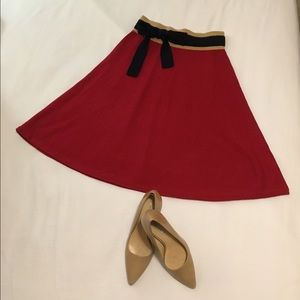 Anthropologie Girls from Savoy Red Wool Skirt