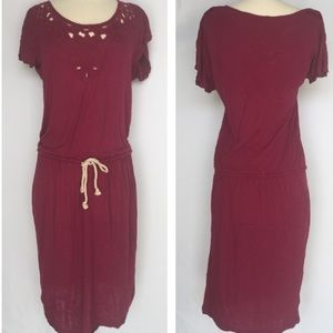 LOFT magenta embroidered casual dress