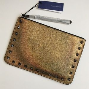 New Rebecca Minkoff Kerry Studded Gold Pouch