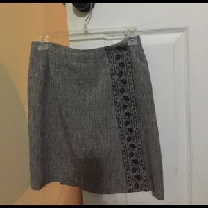 """Gray wrap skirt, I'm 5'4"""" & its 1"""" above my knee"""