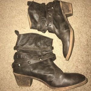 Brown ankle booties with straps