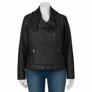 Jou Jou Jackets & Blazers - Faux Leather Quilted Jacket