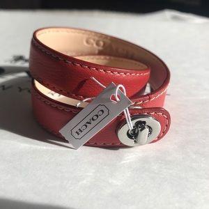 NWT Coach Leather Double Wrap Turnlock Bracelet