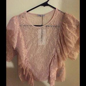 Zara Blush Cropped Lace Top