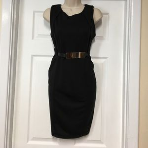 acesnug Dresses & Skirts - Black fitted sleeveless dress w/ gold metal belt