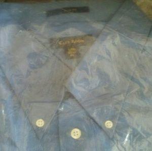 NWT Club room mens blue dress shirt slim fit