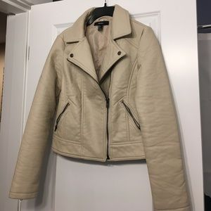 Forever 21 Jackets & Blazers - Forever 21 cream moto jacket size S