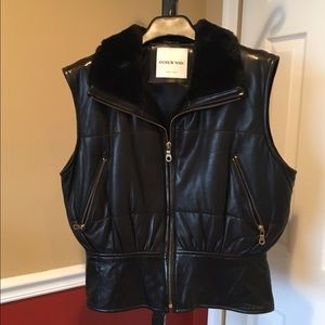 Andrew Marc leather vest with faux collar