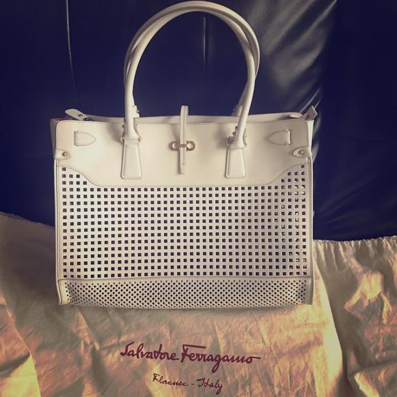 0e252da137c5 Ferragamo White Perforated Leather Briana Tote Bag.  M 58a263f1713fde514402608c