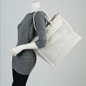 bd4bcfb24b Salvatore Ferragamo Bags - Ferragamo White Perforated Leather Briana Tote  Bag