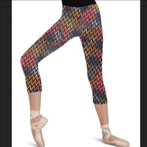 Capezio Other - New Capezio Dance Knee Capri Pants - Chevron - S