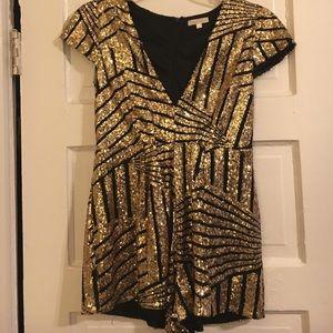 AKIRA Other - Gold sequin Akira Romper