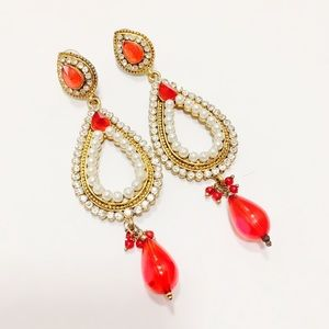 Gorgeous red and white earrings