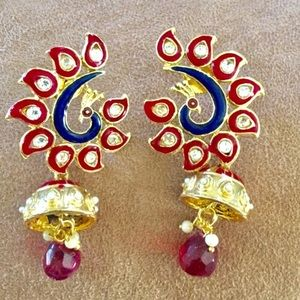 Peacock design statement earrings