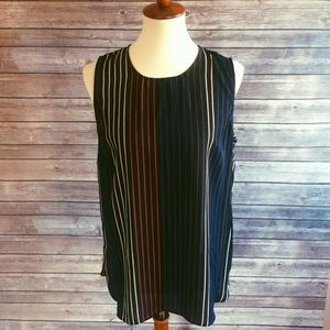 Who What Wear Tops - Striped Multicolor Sleeveless Tunic