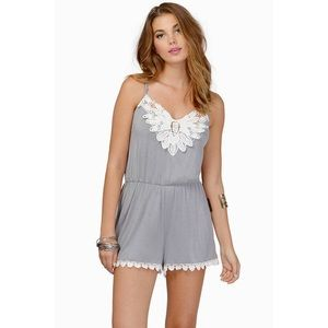 Tobi Dresses & Skirts - Tobi Sweet Love Grey Embroidered Romper