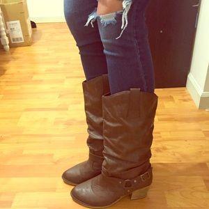 Vanity Shoes - Vanity Brown Heel Boots