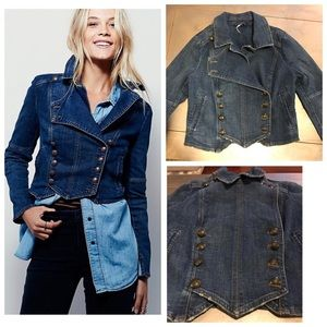 Free People Jackets & Blazers - NWT FREE PEOPLE BLUE JEAN JACKET BAND STYLE