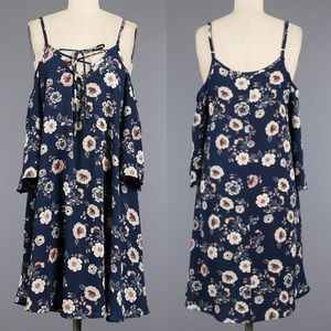 CARABELLE cold shoulder laceup floral dress NAVY