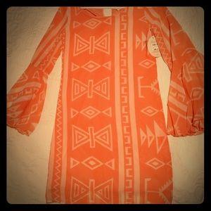NWT Coral Aztec Print Bell Sleeve Dress