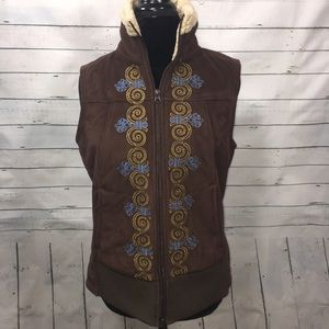 Athleta Jackets & Blazers - Athleta Sherpa lined vest floral tribal zip rare
