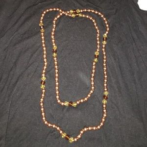 Imitation pearl and bead necklace
