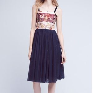 Anthropologie tulle-skirted floral dress, 0 or 4