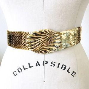 Vintage Accessories - VINTAGE GOLDEN SHELL BELT