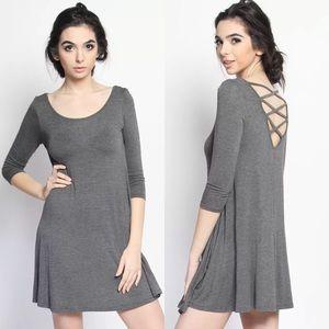 ✨ Strappy Cross Back Half Sleeve Tunic Dress