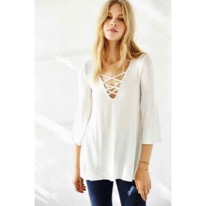 Urban Outfitters Tops - Ecote Bonita Plunge Tunic Top in Ivory