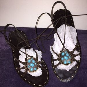 BALLY Shoes - BALLY women's strappy sandals sz 8 brown leather