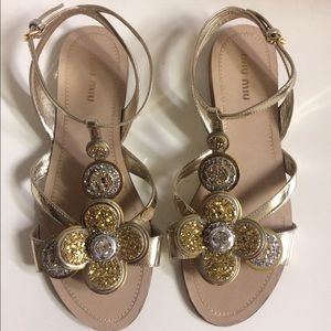 ❌SOLD❌ MIU MIU Glitter Floral Sandals shoes