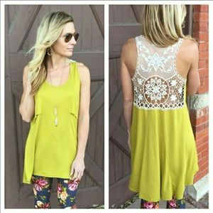 🌸Chartreuse Lace Sleevesless Tunic🌸