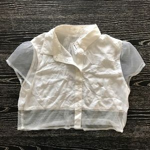 Millau Tops - NEW LF Stores White Cropped Button Down Small