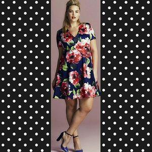 AX Paris Curve Dresses & Skirts - Navy floral print scuba skater dress