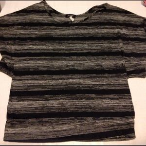 Goddess Tops - Cute black and grey striped blouse