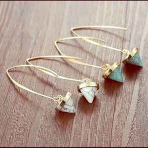 AMYA Natural Stone Hoop Dangle Threaded Earrings