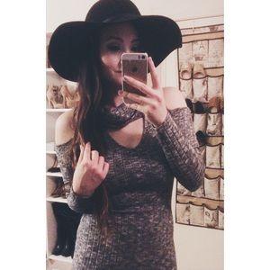 A+ Ellen Dresses & Skirts - Gray Cut-Out Sweater Dress