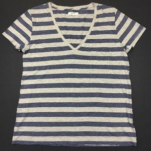 Madewell Tops - Madewell Striped Cream and Blue Tee Shirt