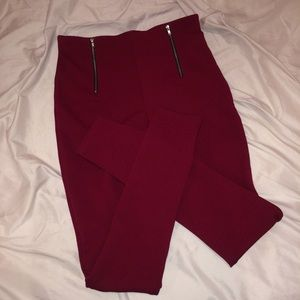 Pants - High waisted Red Trousers