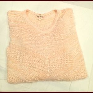 Pink Rose Sweaters - Pink & White V-Neck Lightweight Sweater