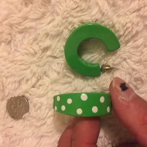 Vintage Jewelry - Adorable Green and White Polka Dot Earrings