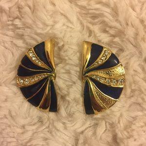 Vintage Jewelry - Gorgeous Gold, Navy & Diamond Fan Shaped Earrings