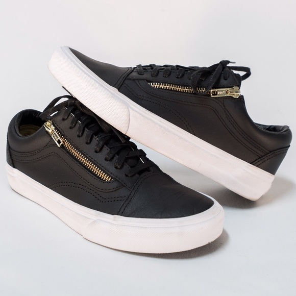 bba0e4ceb648d7 New Vans Leather Old Skool Zip Gold Sz. 7.5m  9.0w