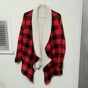 Sweaters - Red plaid flannel oversized cardigan sherpa fur