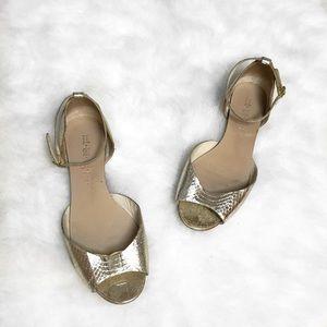 L.A.M.B. Shoes - L.A.M.B Gracie Platinum Snake Skin Sandals💛