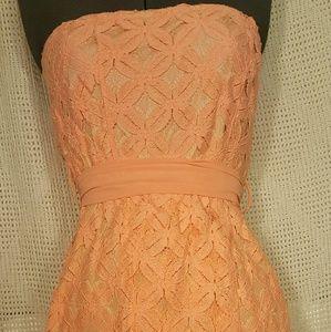 J&M Peach Strapless Floral Mini Dress  Large