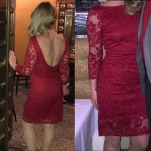 🆕👀Stunning Red lace open back classic dress